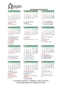 Calendario Michaelis 2019